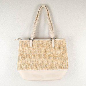 Bueno Straw Handbag Tote Purse Top Zip Woven